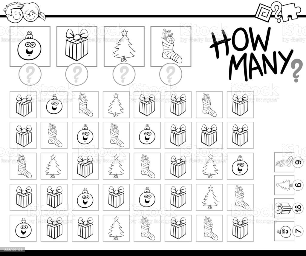Counting Game With Xmas Objects Coloring Book Royalty Free