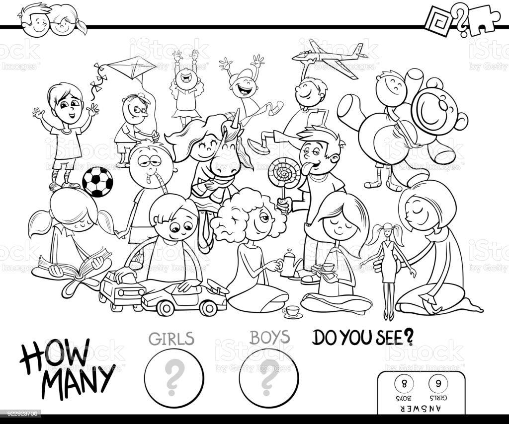 Kızlar Ve çocuklar Oyun Boyama Kitabı Sayma Stok Vektör Sanatı