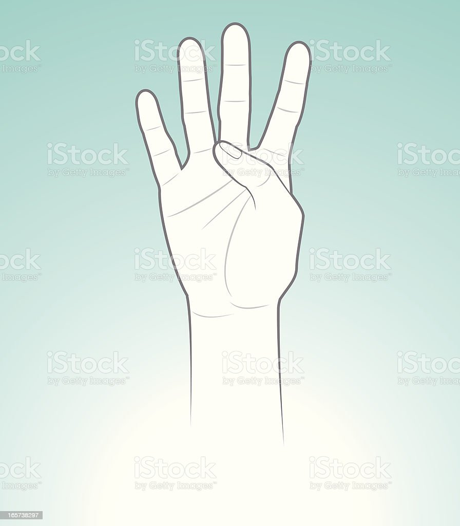 Counting Hand Four vector art illustration