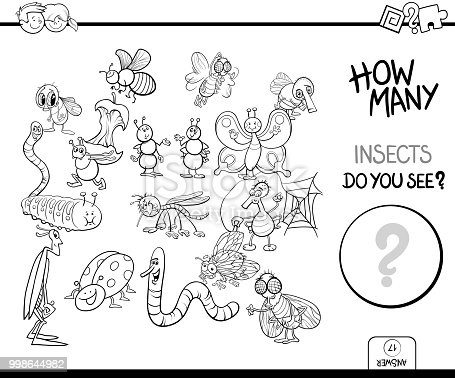 Black and White Cartoon Illustration of Educational Counting Activity Game for Children with Insects Animal Characters Coloring Book