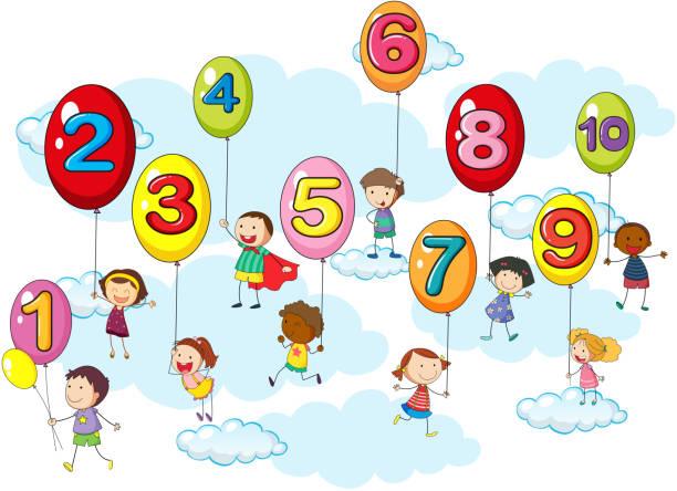 illustrations, cliparts, dessins animés et icônes de compter les nombres avec les enfants sur les ballons - nuage 6