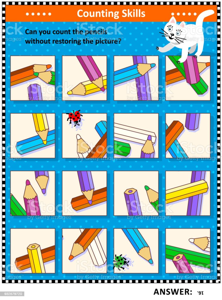 Counting pencils visual logic puzzle vector art illustration