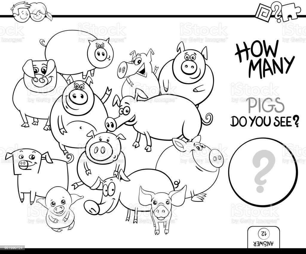 塗り絵豚動物ゲームをカウント - ぬりえブックのベクターアート素材や