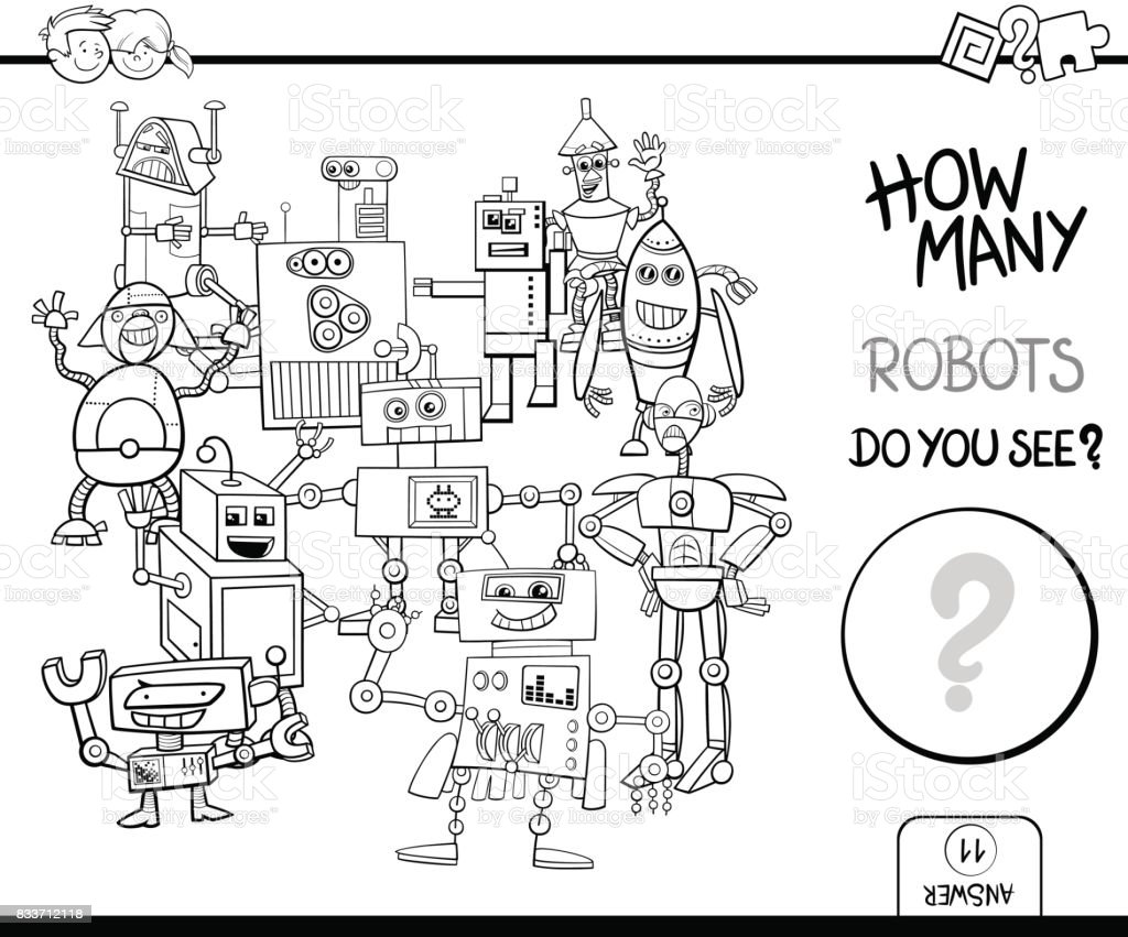 counting robots coloring page activity stock vector art 833712118
