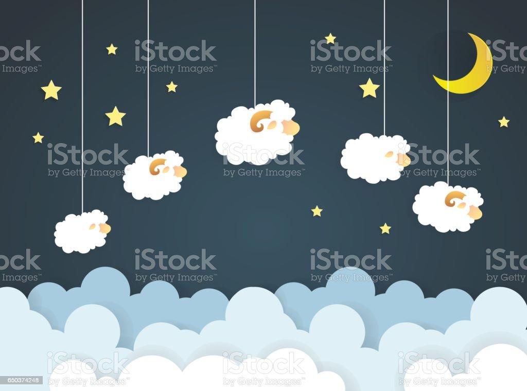Counting sheep. Cartoon character happy jumping sheep. Sweet dreams.paper art vector art illustration
