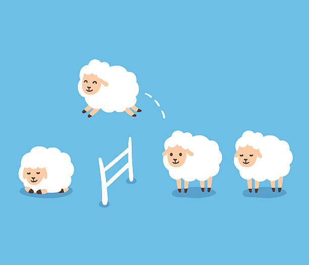 Counting Sheep illustration Counting sheep to fall asleep vector illustration. Cute cartoon sheep jumping over fence. counting stock illustrations