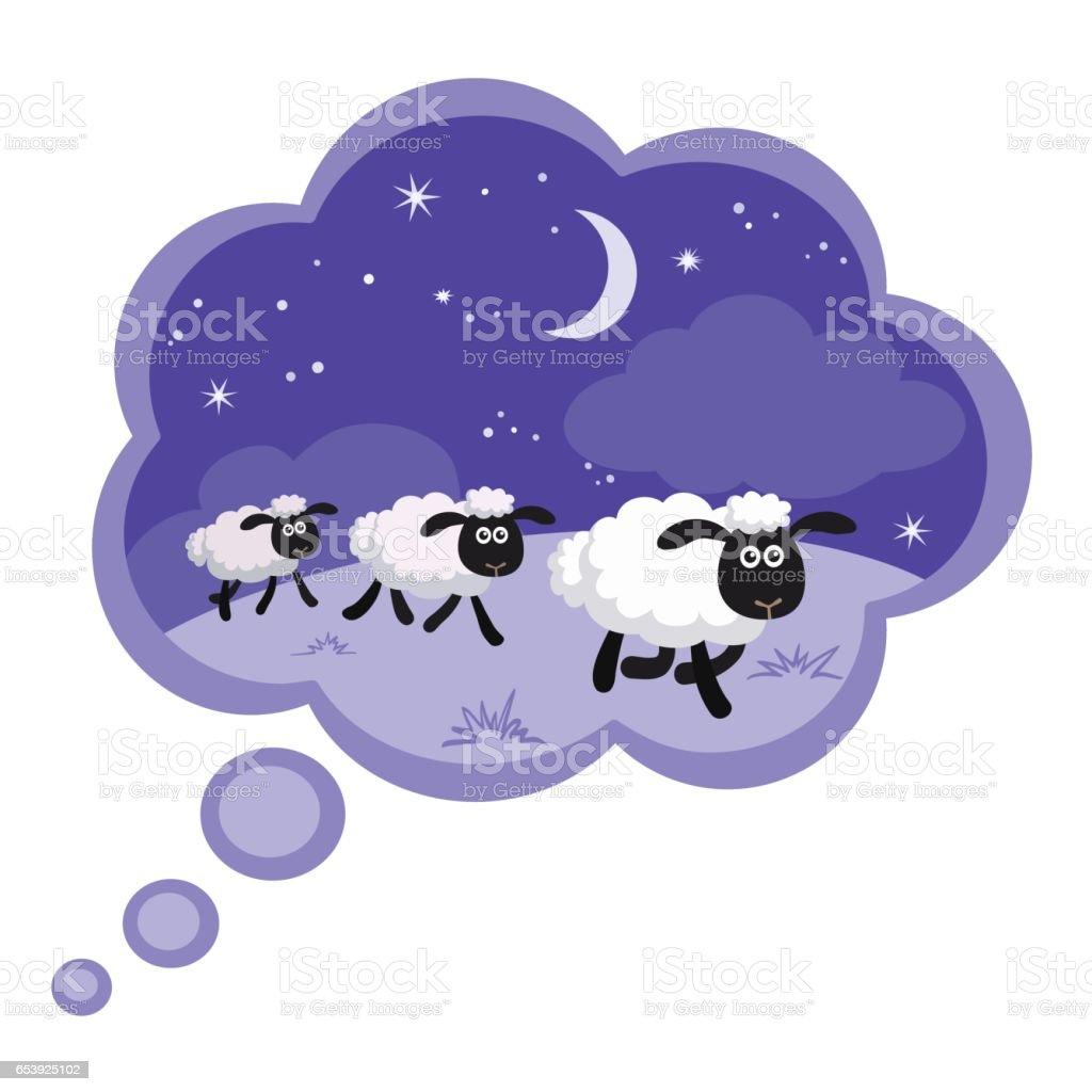 Zählen Schafe In Der Nacht Hintergrund In Einer Traumblase Mit ...