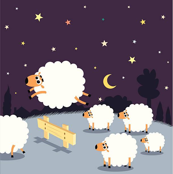 stockillustraties, clipart, cartoons en iconen met counting sheep: insomnia - schaap