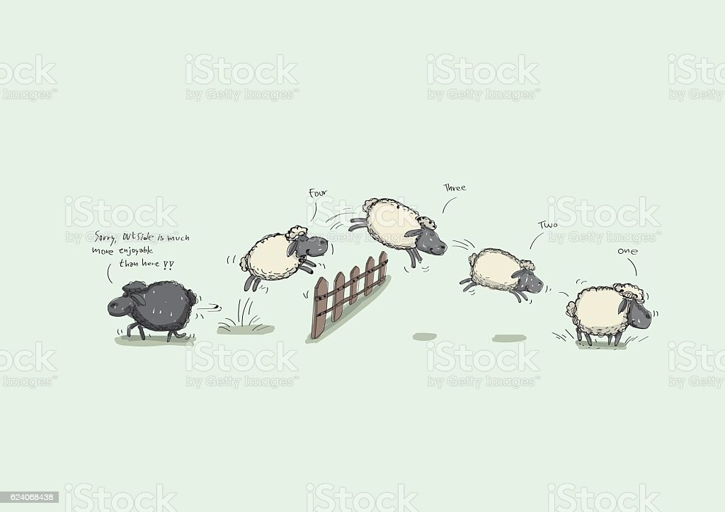 Counting Sheep Jumping - ilustración de arte vectorial