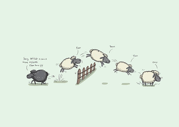 Counting Sheep Jumping Counting Sheep Jumping Over the Fence counting stock illustrations