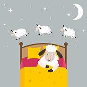 Counting sheep to fall asleep vector illustration