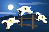 Vector illustration of cartoon sheep, suitable for counting as they leap over a wooden fence. each sheep, the fence and the background are all on their own layers, easily separated in a program like Illustrator, etc. Illustration uses linear and radial gradients. Both .ai and AI8-compatible .eps formats are included, along with a high-res .jpg and a high-res .png.