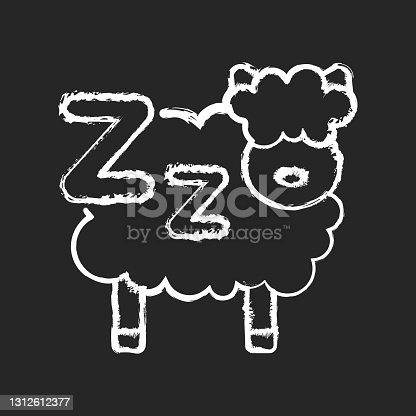 istock Counting sheeps chalk white icon on black background 1312612377