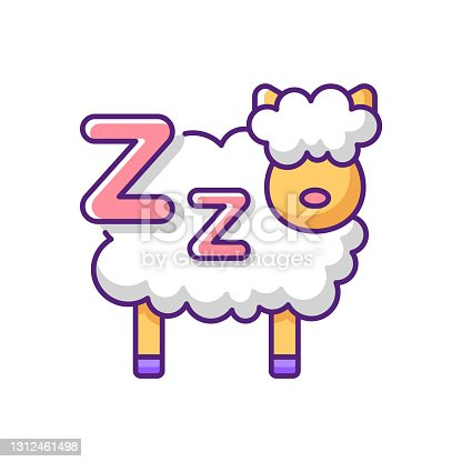 istock Counting sheeps RGB color icon 1312461498
