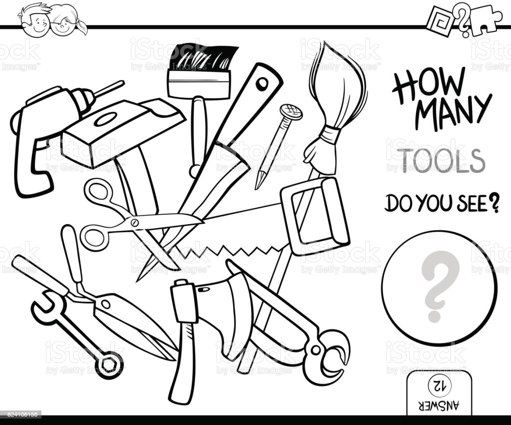 Counting Tools Coloring Page Activity Stock Vector Art & More Images ...