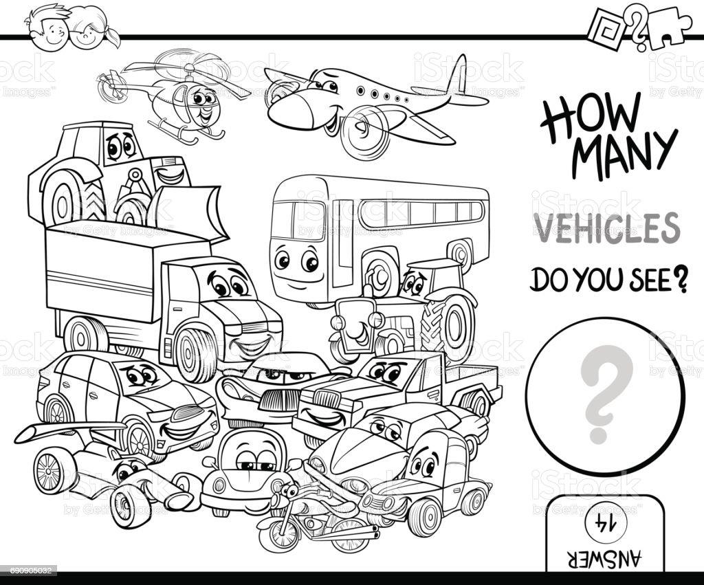 Malvorlagen Fahrzeuge Zählen Stock Vektor Art und mehr Bilder von 4 ...