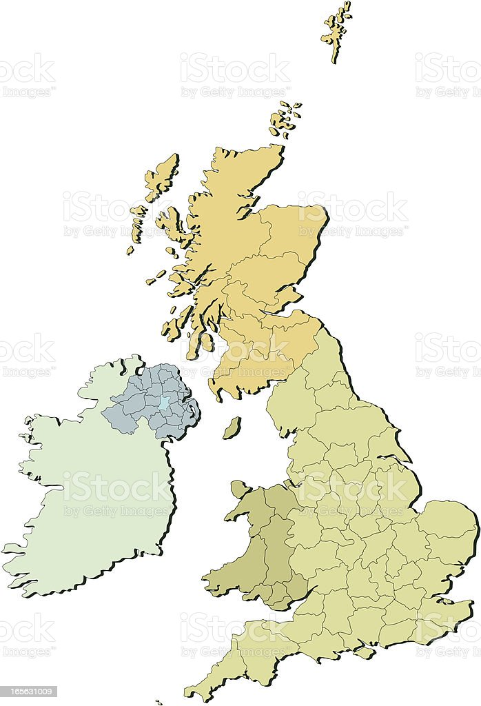 UK countries and counties two vector art illustration