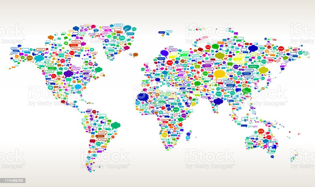 Countries and talk bubbles on the world map stock vector art more countries and talk bubbles on the world map royalty free countries and talk bubbles on gumiabroncs Images