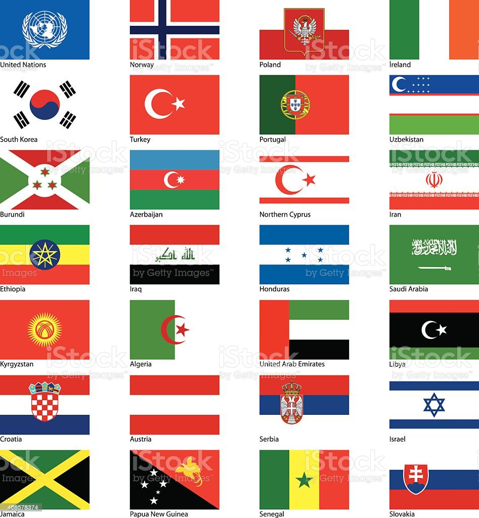 Countries flags serie vector art illustration