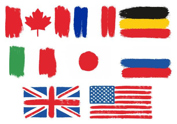 丸いブラシで塗りつぶされた g8 国フラグ ベクトル手 - ドイツの国旗点のイラスト素材/クリップアート素材/マンガ素材/アイコン素材