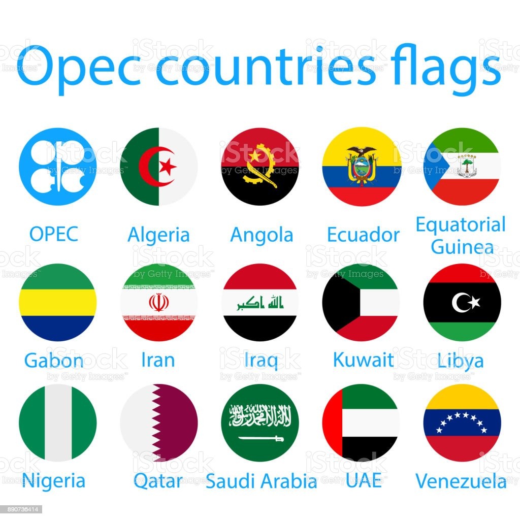 OPEC countries flags vector art illustration
