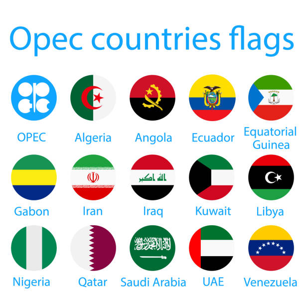 ilustraciones, imágenes clip art, dibujos animados e iconos de stock de banderas de países de la opep - bandera de ecuador