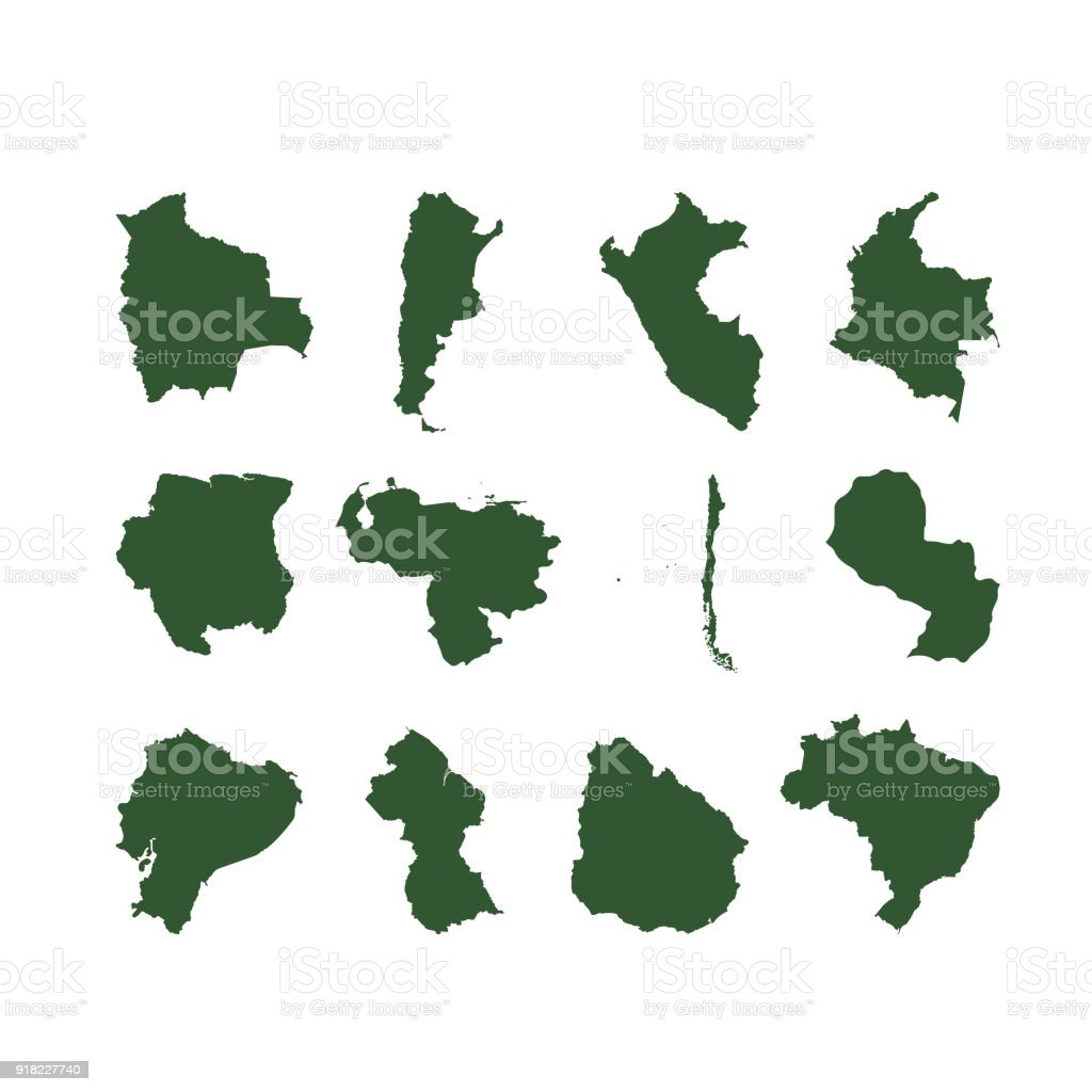 Countries Maps Of South America Stock Illustration ...