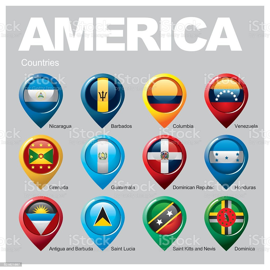 AMERICA Countries - Part Four vector art illustration