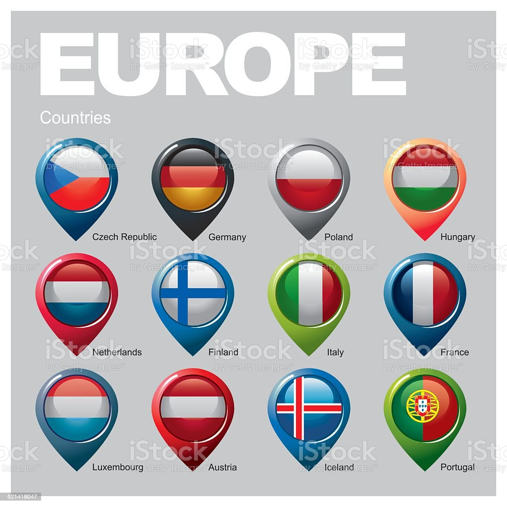EUROPE Countries - Part One vector art illustration