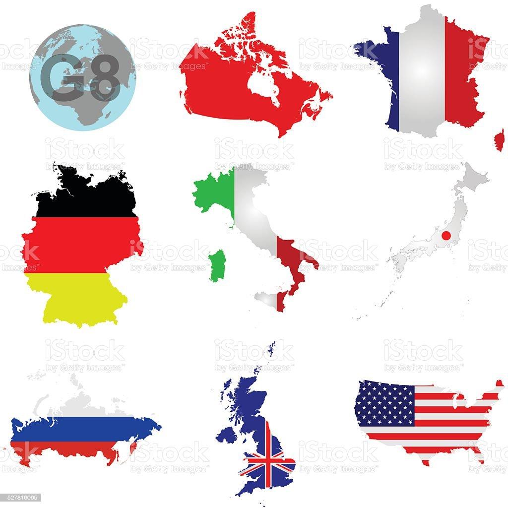 G8 Countries vector art illustration