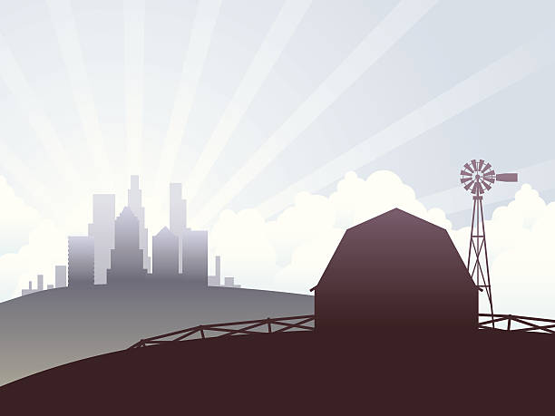 Country and city vector art illustration