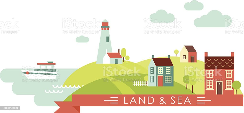 Country and sea landscape vector art illustration