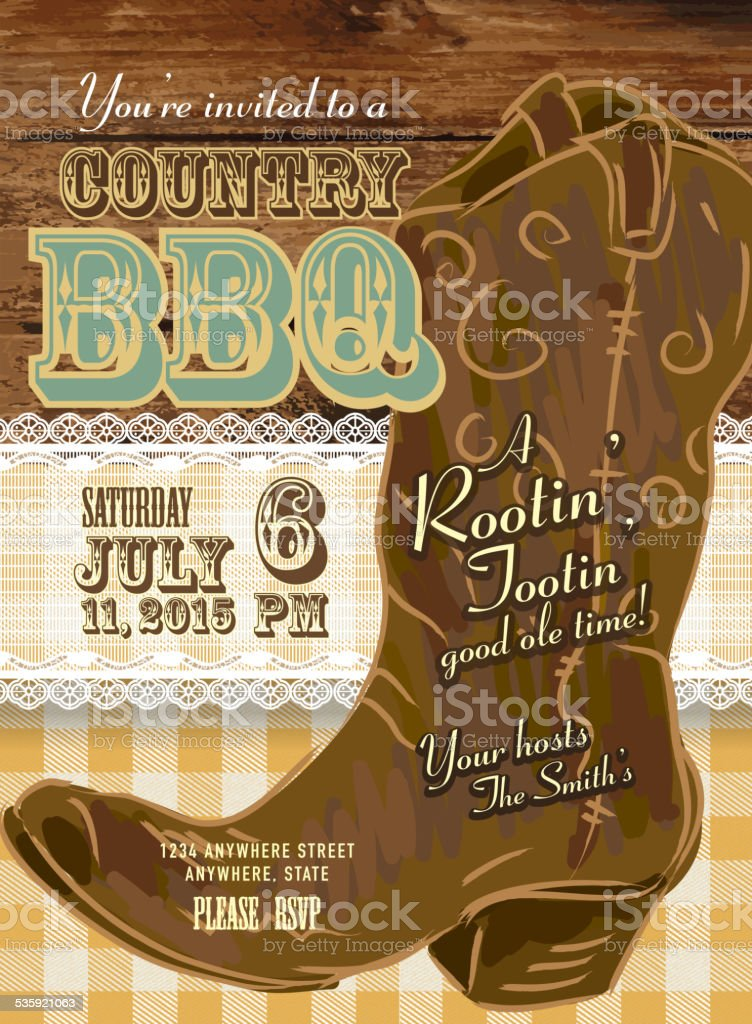 Country and western BBQ with cowboy boot invitation design template vector art illustration
