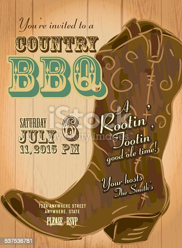 Country and western BBQ with cowboy boot invitation design template, Includes wooden background,lace, cowboy boot and table cloth. Sample text design. Easy layers for customizing.