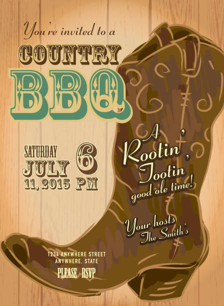 country and western bbq with cowboy boot invitation design template - rodeo stock illustrations, clip art, cartoons, & icons