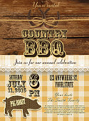 Country and western BBQ with pig invitation design template