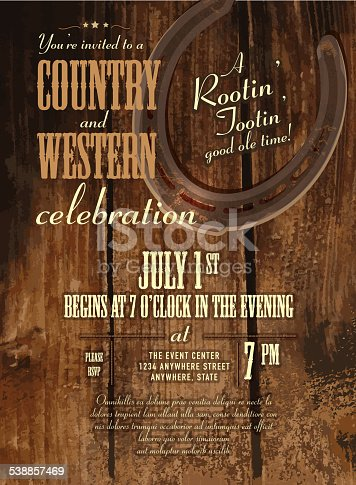 Country And Western Horseshoe And Rustic Wooden Design