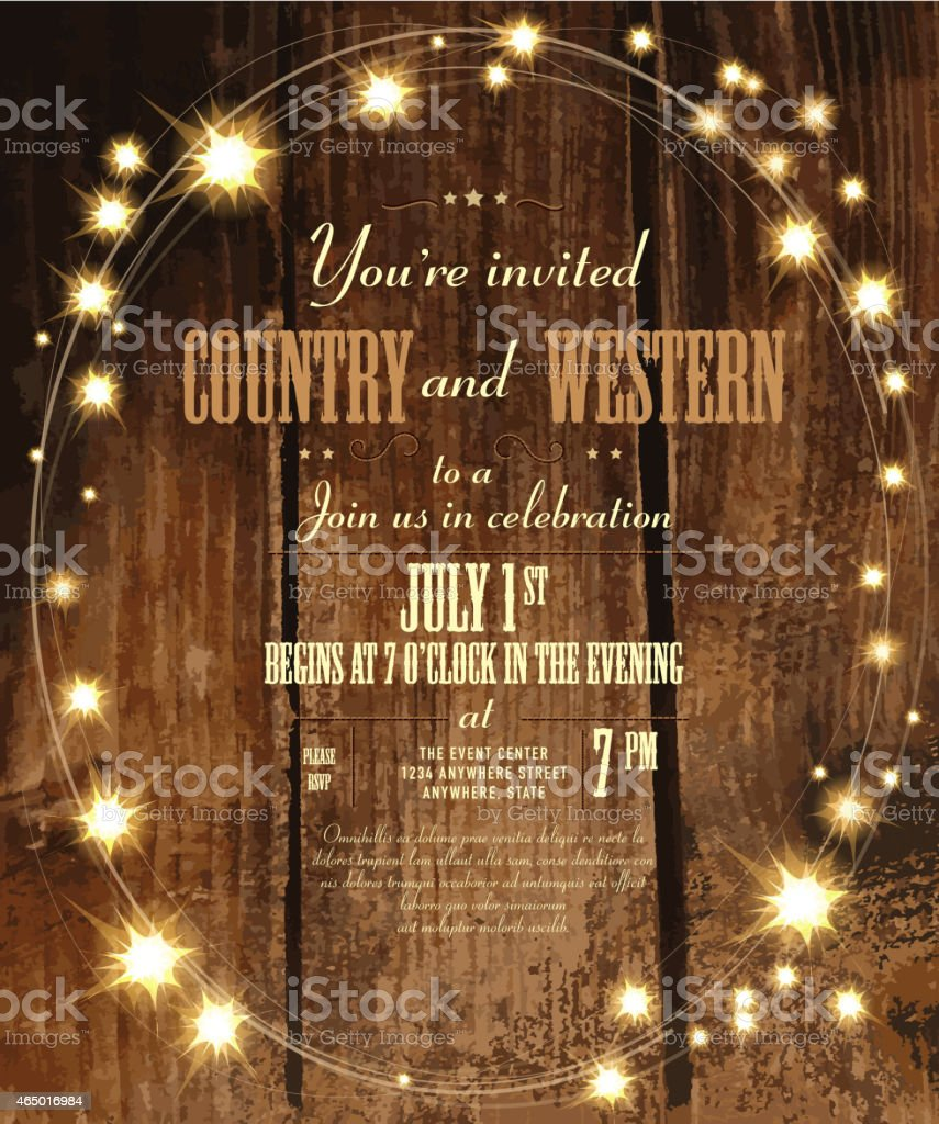 Country and western invitation design template with oval string lights vector art illustration