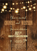 Rustic Country and western invitation design template with string lights. Sample text design. Easy layers for customizing.