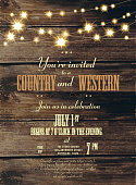 Country and western string of lights  invitation design template