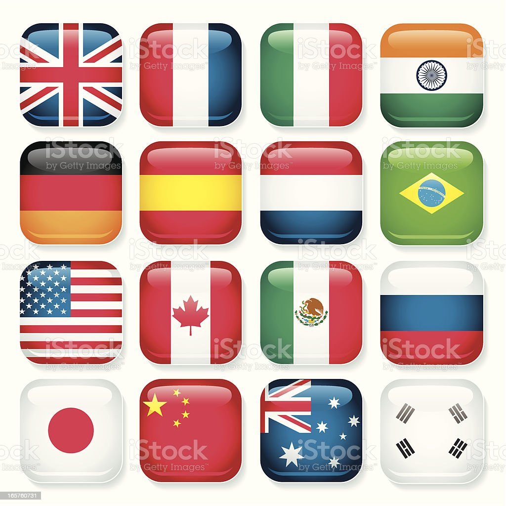 Country app buttons royalty-free stock vector art