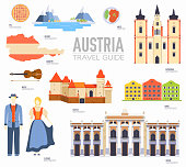 Country Austria travel vacation guide of goods, places and features. Set of architecture, people, culture, icons background concept. Infographics template design for web and mobile. On flat style.