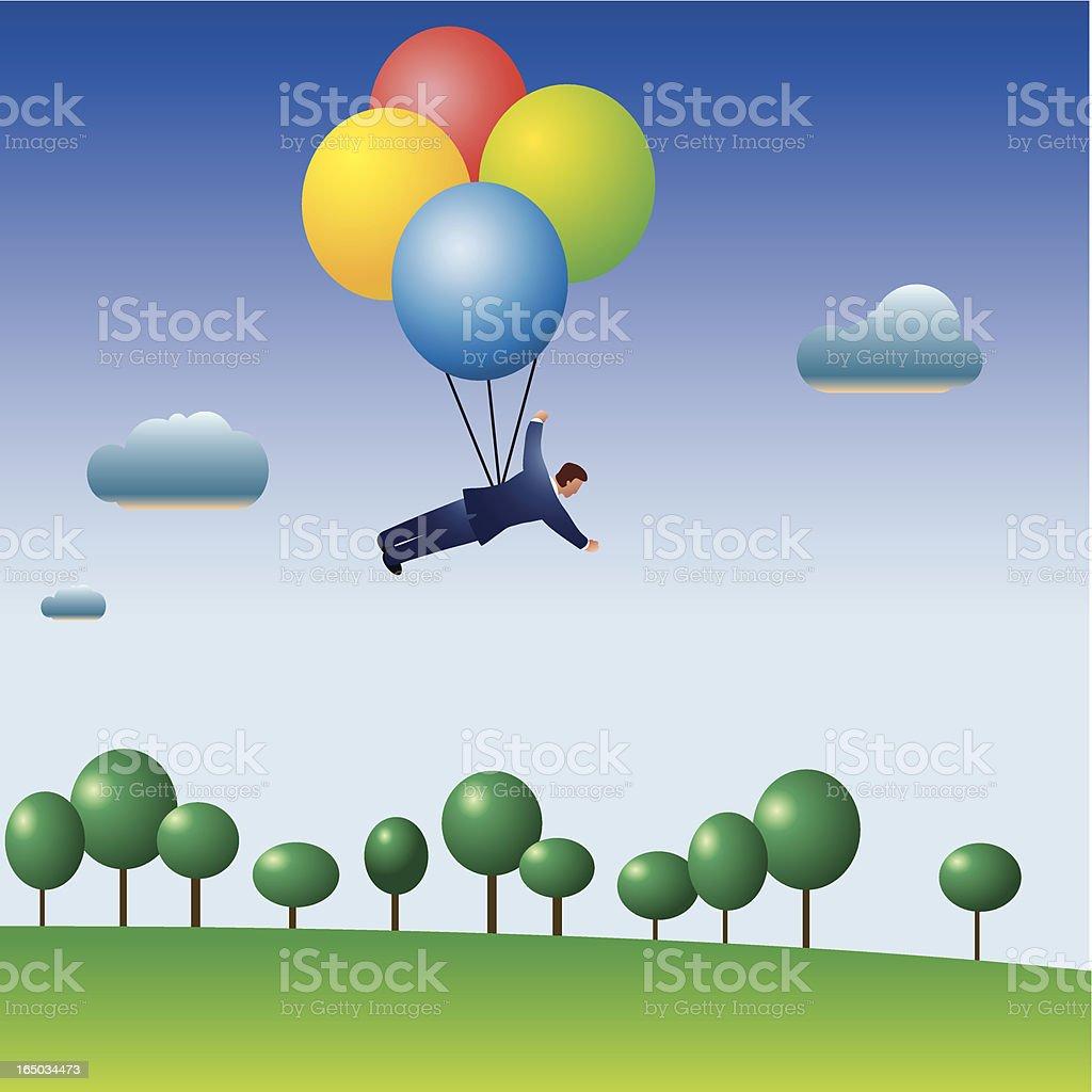 country balloon flight royalty-free stock vector art