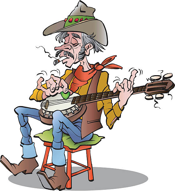 country banjo player - old man shoes stock illustrations, clip art, cartoons, & icons