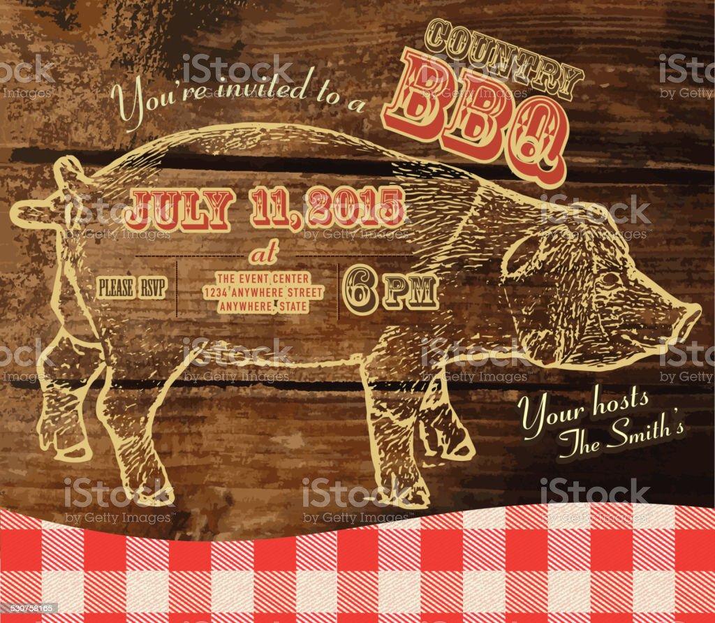Country BBQ invitation design template vector art illustration