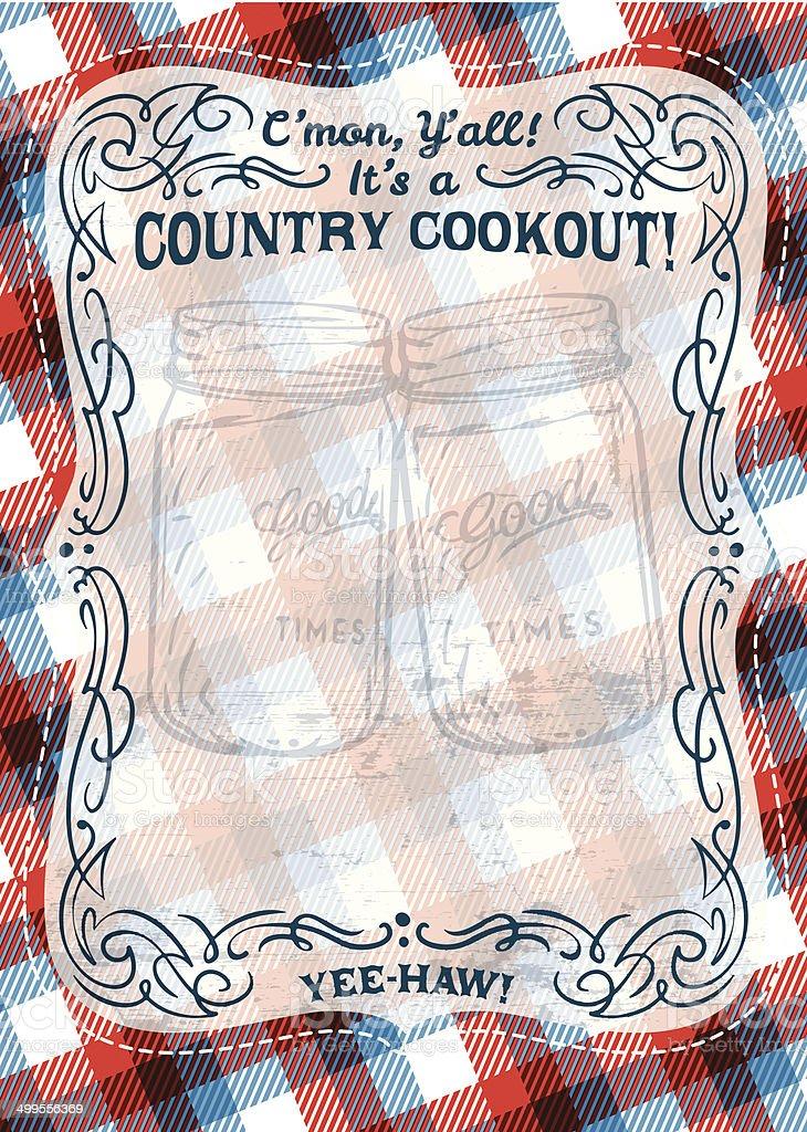 Country BBQ Invite vector art illustration