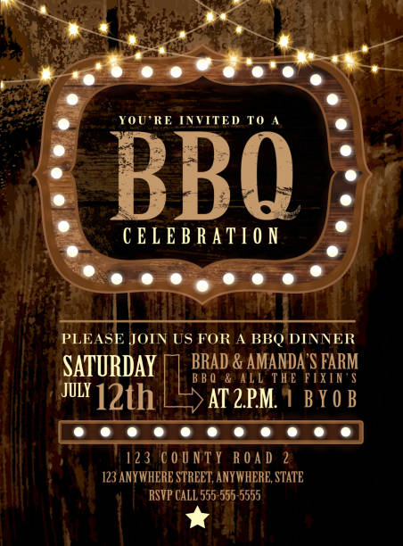 Country BBQ wedding invitation wooden signs and string lights vector art illustration