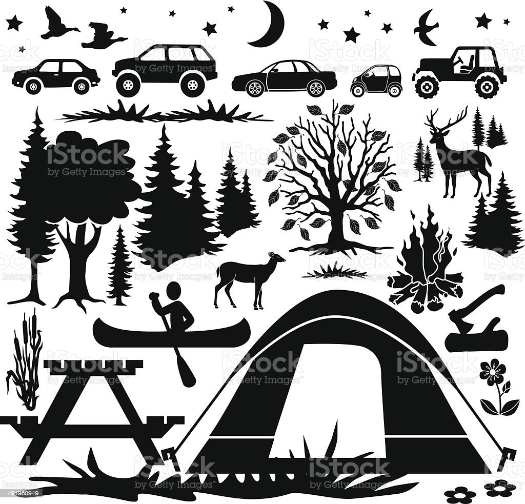 country camping design elements vector art illustration