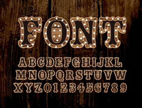 Country Carnival wooden alphabet font design with lights
