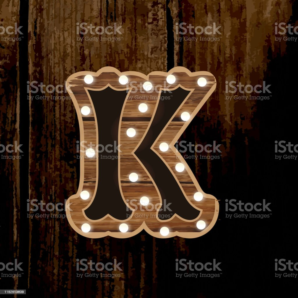 Country Carnival Wooden Capital Letter K Font Design With